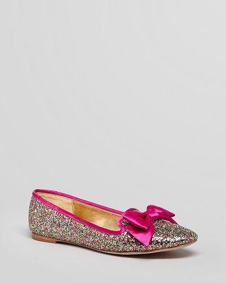 Kate Spade Pointed Toe Smoking Flats - Audrina Glitter Bow