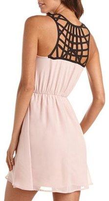Charlotte Russe Lattice Back Chiffon A-Line Dress