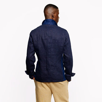 Ludlow Unconstructed worker jacket in colorblock linen