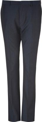 Paul Smith Dark Navy Striped Wool-Blend Peak Pants