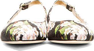 Dolce & Gabbana Black Floral Pointy Slingback Flat