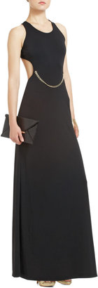BCBGMAXAZRIA Black Cutout Gold Chain Matte Jersey Dress