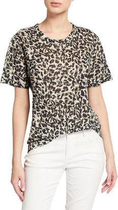 Monrow Animal Print Girlfriend Tee