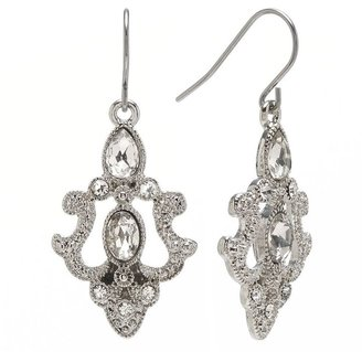 Trifari silver tone simulated crystal drop earrings