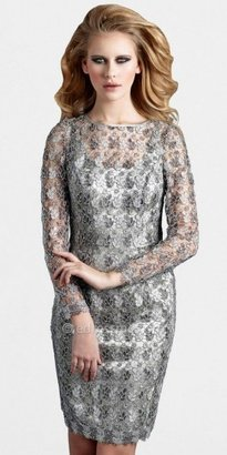 eDressMe Terani Couture All-Over Lace Long-Sleeved Peek-a-Boo Dresses