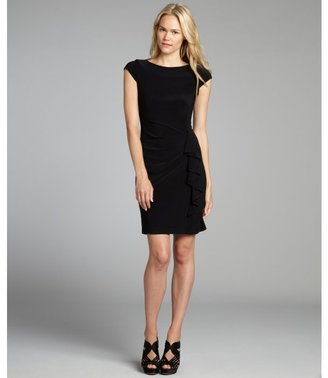Taylor black cap sleeve stretch jersey side ruffle dress