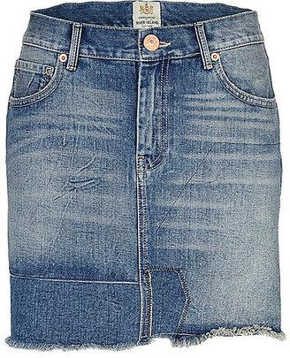 River Island Womens Mid wash patchwork denim mini skirt