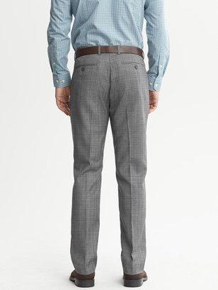 Banana Republic Tailored Slim-Fit Grey Plaid Wool Dress Pant