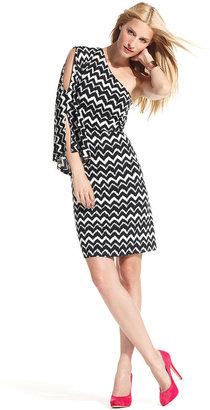INC International Concepts Dress, One-Shoulder Zigzag Tribal-Print