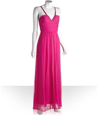 BCBGMAXAZRIA light fuchsia silk chiffon 'Hall' tank strap gown