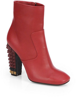 Fendi Leather Spiked-Heel Ankle Boots