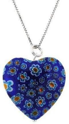 Murano Glass Sterling Silver Bead Dark Blue Millefiori Flower Heart Pendant
