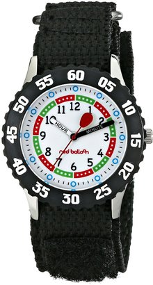 EWatchFactory Red Balloon Kids' W000176 Black Velcro Stainless Steel Time Teacher Watch