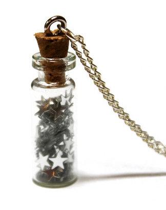 Jezie Jewelry Bottled Silver Stars Necklace