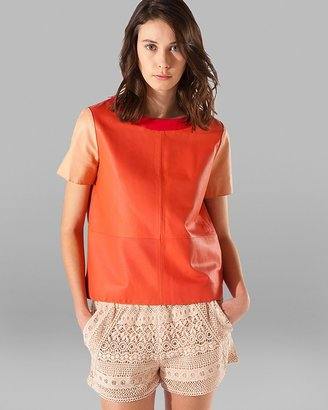 Maje Top - Color Block Leather