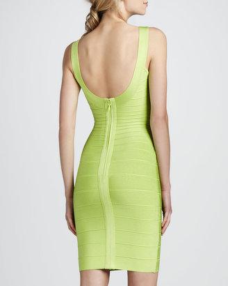 Herve Leger Basic Bandage Dress, Bright Lime