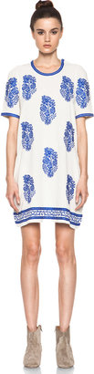 Etoile Isabel Marant Daryl Embroidered Noil Silk Dress in Ecru & Bleu