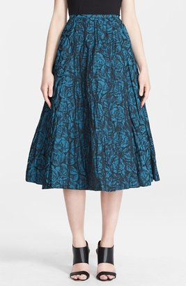 Tracy Reese Rose Detail Metallic Taffeta Skirt