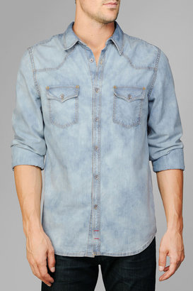 7 For All Mankind Washed Western Shirt In Light Indigo