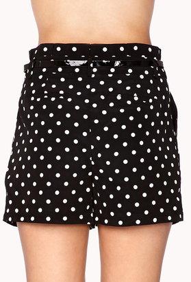 LOVE21 LOVE 21 Essential High-Waisted Polka Dot Shorts
