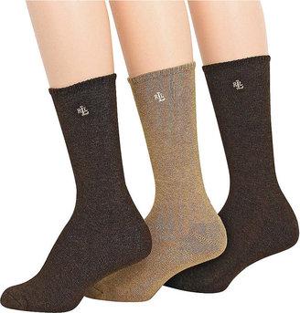 Lauren Ralph Lauren Cushion Foot Cotton-Blend Boot Socks, 3-Pack, Style #34002PK