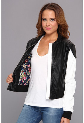 Members Only Two-Tone Faux Leather Baseball Jacket