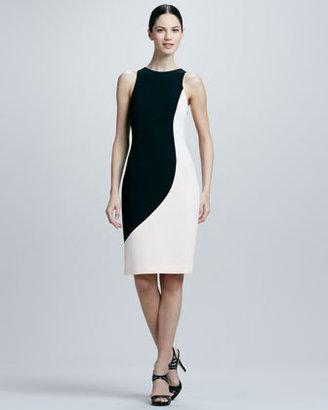 Rachel Roy Crepe Two-Tone Sculpted Dress