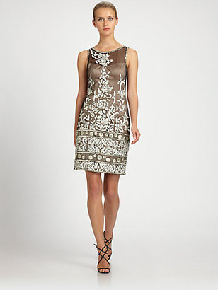 Sue Wong Embroidered Illusion Dress