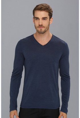 John Varvatos Merino Long Sleeve V-Neck Sweater (Oiled Blue) - Apparel