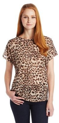 Chaus Women's Short Sleeve Boat Neck Animal Top