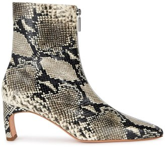 Rosetta Getty 65 Python-effect Leather Ankle Boots