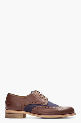 G Star G-STAR Brown & Navy Bureau Mixed Wingtip Brogues