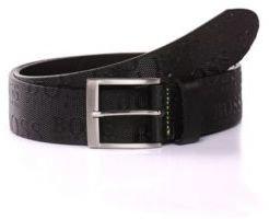 Hugo Boss Torialo Leather Allover Logo Belt 34 Black