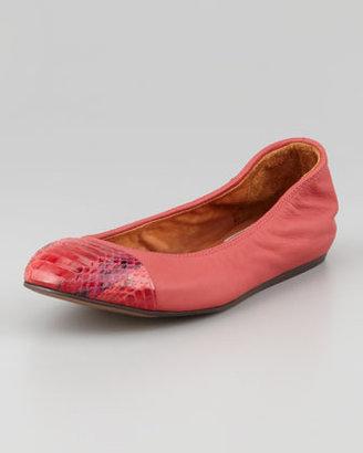 Lanvin Snakeskin Cap Toe Ballerina Flat, Red