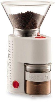 Bodum Bistro Burr Electric Grinder with Attached Presso Canister in White