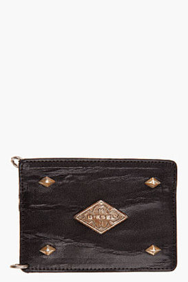 Diesel black leather Aron card holder