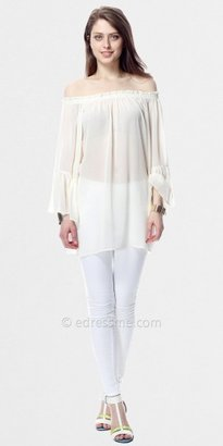 Sheer Off Shoulder Bell Sleeve Tops by Classique