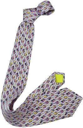 Emilio Pucci Abstract Floral Twill Silk Tie