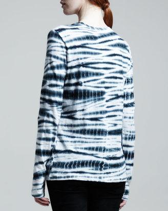 Proenza Schouler Long Sleeve Tie-Dye T-Shirt, Black/White