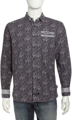 English Laundry Harwich Paisley Sport Shirt, Black