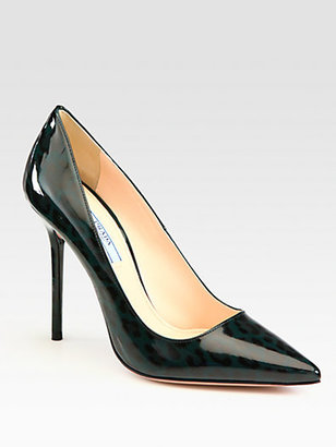 Prada Printed Patent Leather Point Toe Pumps