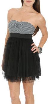 Wet Seal WetSeal Striped Lace 2fer Dress Black/white