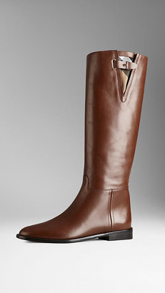 Burberry Check Detail Riding Boots