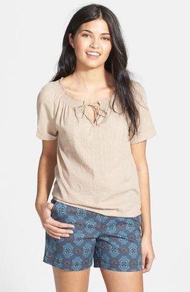 Caslon Embroidered Cotton Peasant Blouse (Regular & Petite)