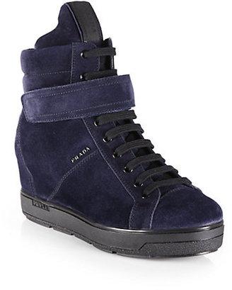 Prada Suede Lace-Up Wedge Sneakers