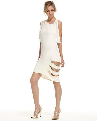 Max Azria Pebble Crepe Slash Dress