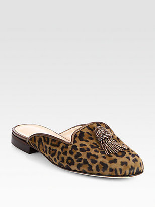 Oscar de la Renta Cici Beaded Leopard-Print Suede Slides