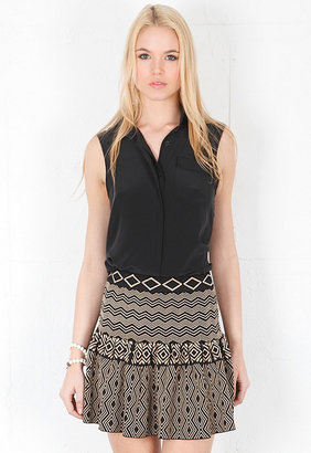 Torn By Ronny Kobo Camelia Tribal Jacquard Skirt in Black/Beige