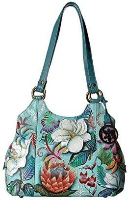 Anuschka 469 Triple Compartment Medium Satchel (Jardin Bleu) Handbags