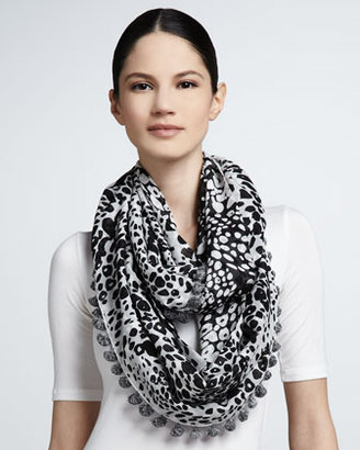 Diane von Furstenberg Leopard Rain Print Infinity Scarf, Black/White